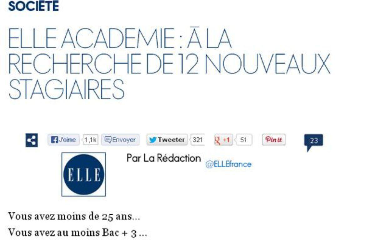 Capture d'écran du site de «Elle» annonçant le lancement de «Elle académie» – elle.fr