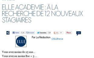Capture d'écran du site de «Elle» annonçant le lancement de «Elle académie»
