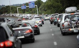 Des embouteillages sur l'A7 le 23 juillet 2011.