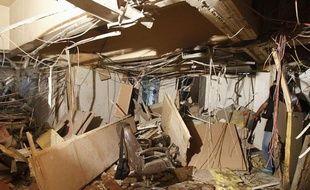 L'immeuble de la radio-télévision d'état après l'attentat de ce lundi 6 août 2012, à Damas en Syrie.