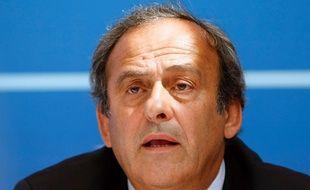 Michel Platini en conférence de presse le 28 août 2015.