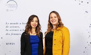 Stéphanie Challita et Alicia Mayeur-Louchart, lauréate lilloises de la Fondation L'Oréal et l'Unesco en faveur des femmes dans la science.