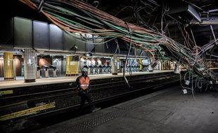 Des travaux sur le RER C à la station Saint-Michel à l'été 2016.