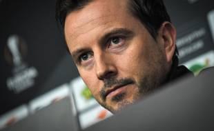 Julien Stéphan en conférence de presse avant le match contre Arsenal.