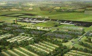 Perspective aérienne du projet d'aéroport de Notre-Dame-des-Landes.