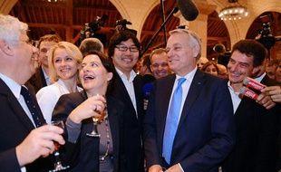 Jean-Marc Ayrault, Jean-Vincent Placé, Cécile Duflot et Pascal Durand, le 26 septembre 2013 à Angers.