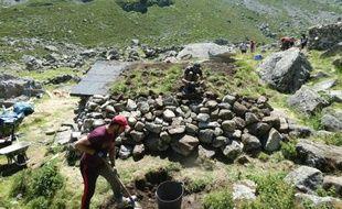 Le chantier du site pastoral du Liantran, dans les Hautes-Pyrénées.