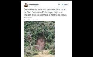 Capture d'écran d'une photo de la colline où est apparu le visage de Jésus, en Colombie.