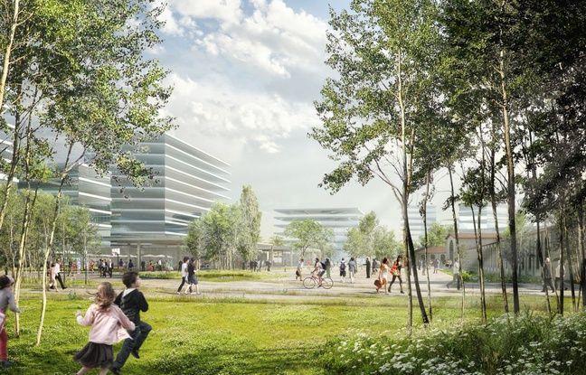 Vue du futur jardin de l'Ars, sur la ZAC Saint-Jean Belcier d'Euratlantique à Bordeaux.