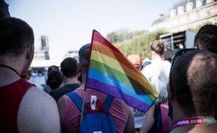 La Maire de Paris, a preside l inauguration du village des Gay Games 2018 sur le Parvis de l Hotel de Ville le 4 aout 2018.