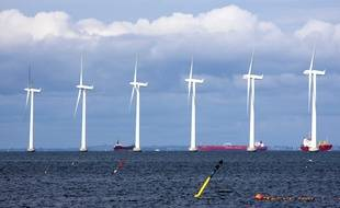 Illustarition d'un parc éolien offshore au Danemark.