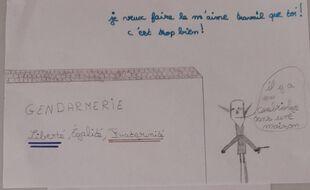 L'un des dessins adressés aux gendarmes de Limogne-en-Quercy.