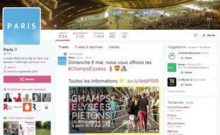Capture d'écran du compte Twitter de la ville de Paris.