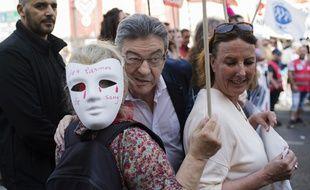 Jean-Luc Mélenchon lors d'une manifestation test à Marseille, le 19 avril 2018.