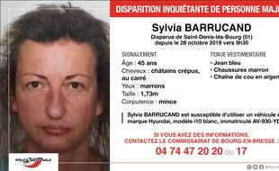 Sylvia Barrucand a disparu dans l'Ain le lundi 28 octobre.