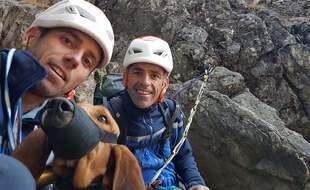 Les gendarmes du peloton de gendarmerie des Hautes-Pyrénées ont sauvé un chien de chasse coincé durant deux nuits en montagne. (Gendarmerie nationale)