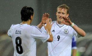 Andre Schuerrle et de la Mannschaft lors du match de préparation à l'Euro contre l'Israel à Leipzig en Mai 2012.