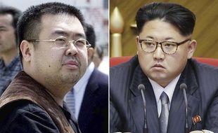 Kim Jong-Nam, en 2001 à Tokyo, et Kim Jong-Un, à Pyongyang le 9 mai 2016.