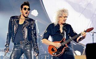 Adam Lambert et Brian May dans un concert de Queen le 21 janvier 2015 à Manchester