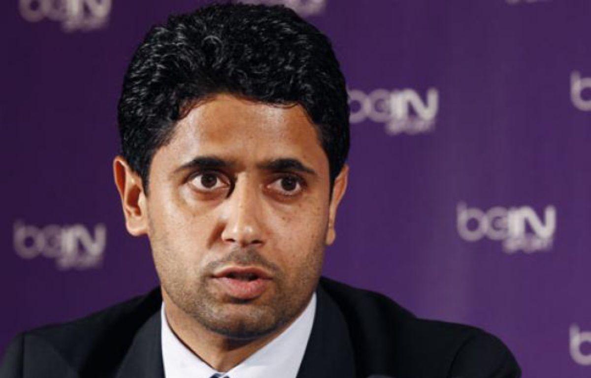 Nasser Al-Khelaifi, lors de la présentation de la chaîne beIN Sport, le 24 mai 2012 à Paris. – J.Naegalen / REUTERS