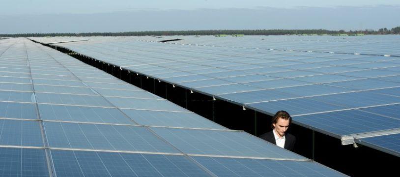 Le parc de panneaux photovoltaïques de Cestas (Gironde), l'un des plus grands d'Europe, le 1er décembre 2015
