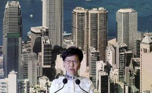 Lors d'une conférence de presse samedi 15 juin, la chef de l'exécutif hongkongais, Carrie Lam, annonce la suspension du projet de loi controversé sur les extraditions vers la Chine.