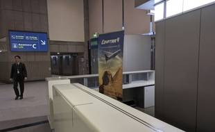 Le comptoir de la compagnie EgyptAir à l'aéroport Roissy-Charles de Gaulle au matin du 19 mai 2016.
