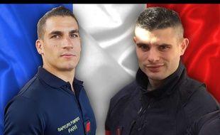 Simon Cartannaz et Nathanaël Josselin, les deux pompiers de Paris qui sont décédés en intervention rue de Trévise, le 12 janvier 2019.
