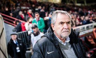 Le président du Stade Toulousain Jean-René Bouscatel, lors d'un match de Top 14 le 1er mars 2014, au stade Ernest-Wallon de Toulouse.