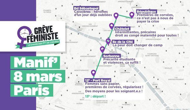 Carte du cortège féministe du 8 mars.