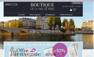 Site de la e-boutique lancé jeudi 5 décembre 2013par la Mairie de Paris.