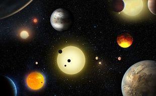 Une vue d'artiste des nouvelles planètes découvertes.