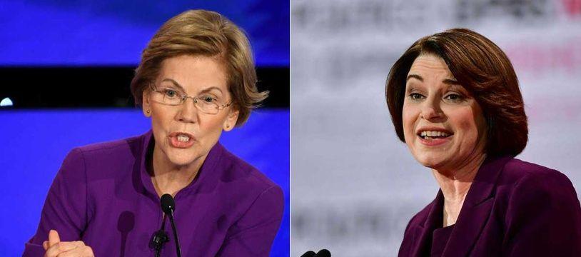 Elizabeth Warren (gauche) et Amy Klobuchar. Illustration