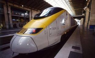 Un train Eurostar, gare du Nord à Paris.