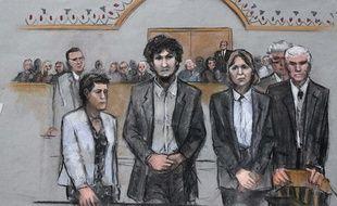 Dessin de Djokhar Tsarnaev entouré de ses avocats à l'énoncé le 15 mai 2015 de sa condamnation à mort pour le double attentat de Boston.