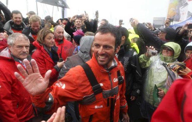 Franck Cammas vainqueur de la Volvo Ocean Race avec Groupama 4, à Lorient, le 15 juin 2012.