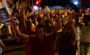 Les supporters du Junior FC célèbrent (à tort) un titre de leur équipe à Baranquilla (Colombie), le 27 mai 2014.