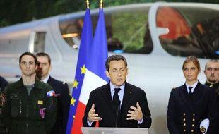 Le président de la République, Nicolas Sarkozy, durant ses voeux aux armées, à Saint-Dizier, dans la Haute-Marne, le 4 janvier 2011.