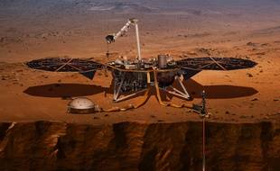 Vue d'artiste d'InSight  qui doit atterrir lundi 26 novembre sur Mars.