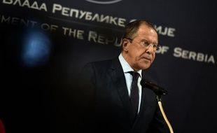 Le chef de la diplomatie russe Sergei Lavrov donne une conférence de presse à Belgrade le 17 juin 2014
