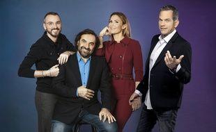 De gauche à droite, les jurés de «Destination Eurovision 2019», Christophe Willem, André Manoukian et Vitaa, et le présentateur de l'émission, Garou.