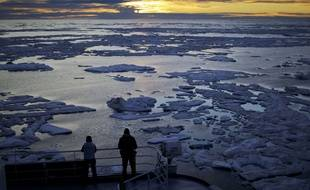 L'océan arctique au large des côtes canadiennes (illustration).