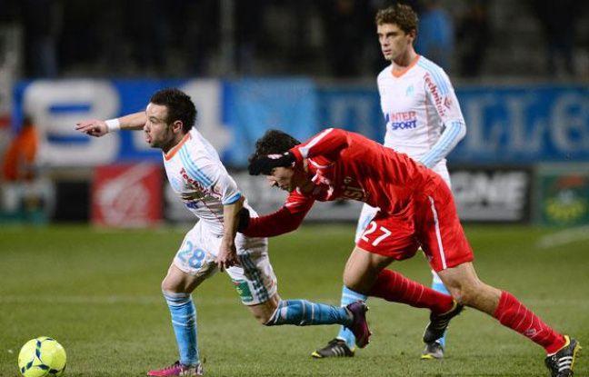 Le Marseillais mathieu valbuena lors de la défaite de l'OM (0-1) contre nancy, le 3 février 2013, au Stade Vélodrome.