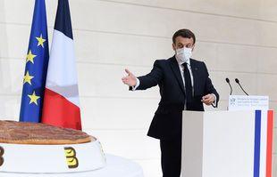 Le président français Emmanuel Macron lors de la cérémonie traditionnelle de l'Epiphanie à l'Elysée, le 13 janvier 2021.
