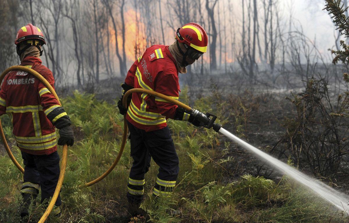 Plus de 900 pompiers sont mobilisés pour tenter d'arriver à bout des flammes qui ravagent la région de Leiria au Portugal. – Paulo Duarte/AP/SIPA