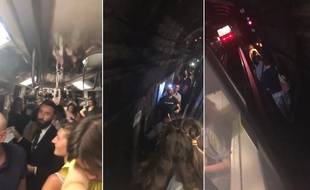 Des centaines de passagers sont restés coincés dans le métro sur la ligne 1, le 31 juillet 2018, et on dû descendre sur les voies.