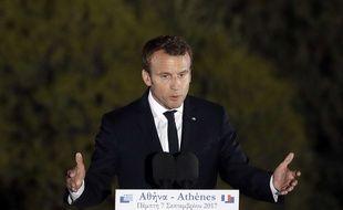Emmanuel Macron à Athènes, le 7 septembre 2017, appelle à une refondation de l'Europe.