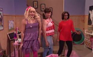 Michelle Obama danse dans un sketch du «Tonight Show» aux côtés de Jimmy Fallon et Will Ferrell le 20 février 2014.