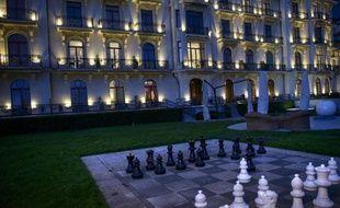 Le palace à Lausanne dans lequel se déroulent les discussions autour du nucléaire iranien, le 31 mars 2015