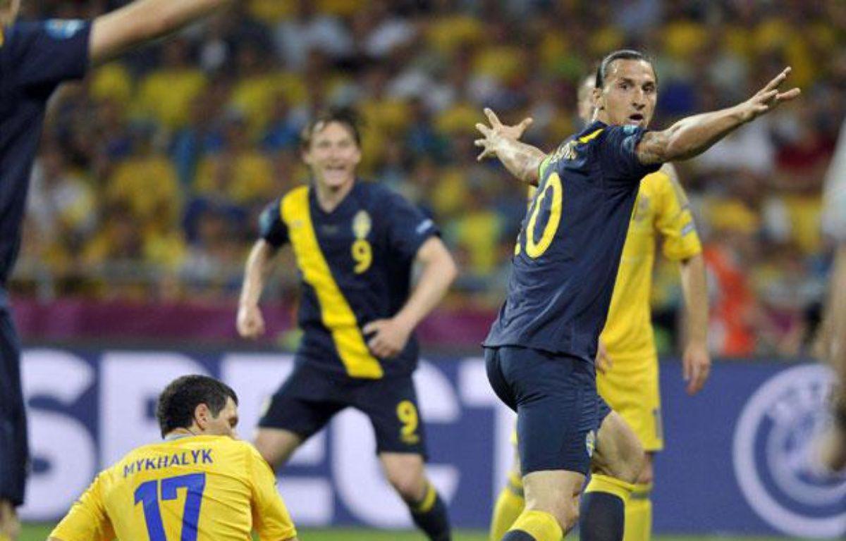 Zlatan Ibrahimovic après son but contre l'Ukraine à l'Euro 2012, à Kiev, le 11 juin 2012. – CHINE NOUVELLE/SIPA